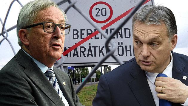 Ungarns Regierungschef Orban (re.) fordert von EU-Kommissionschef Juncker Geld für den Grenzzaun. (Bild: AFP, AP)