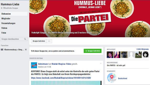 """Eine der gekaperten Facebook-Gruppen: """"Heimat-Liebe"""" ist nun """"Hummus-Liebe"""". (Bild: Die Partei)"""