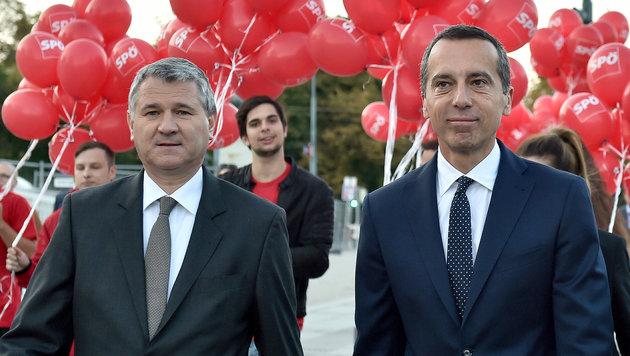 SPÖ-Bundesgeschäftsführer Georg Niedermühlbichler mit Bundeskanzler Christian Kern (Bild: APA/Hans Punz)