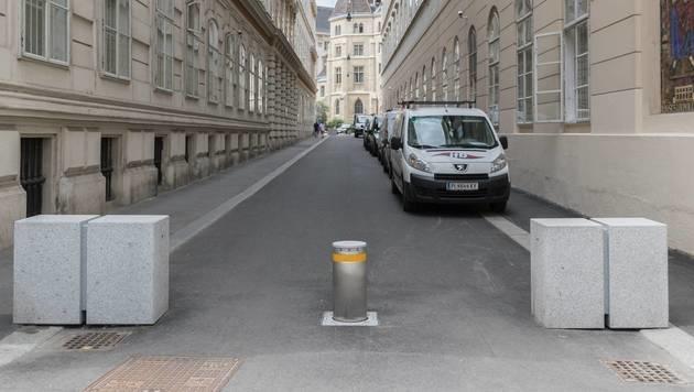 Schutzmaßnahme in der Wiener Herrengasse (Bild: Gilbert Novy/picturedesk.com)