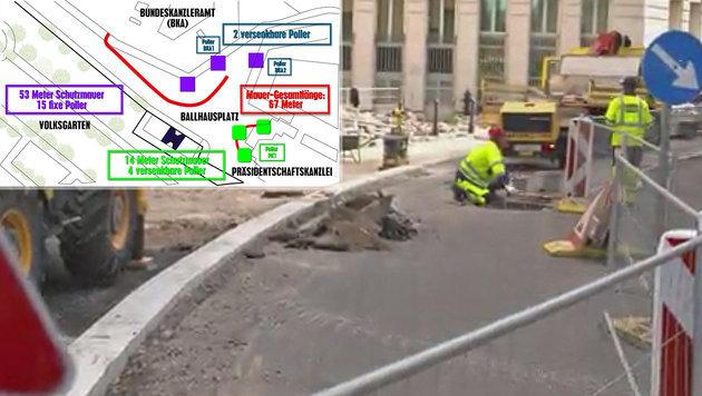 "Wiens ""Bonzen-Mauer"": Viele fordern Baustopp (Bild: krone.tv, krone.at-Grafik)"