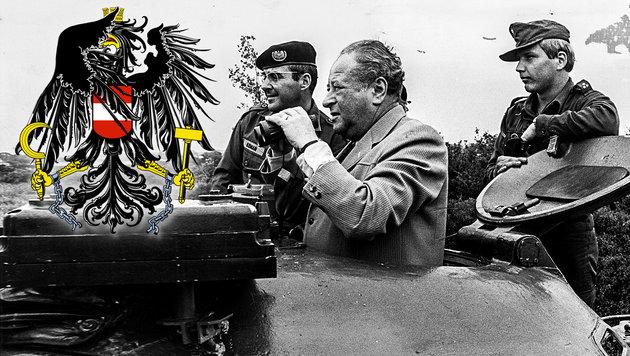"""""""Sechs Monate Grundwehrdienst sind genug"""", erklärte Bruno Kreisky - im Jahre 1970. (Bild: """"Krone""""-Archiv, krone.at-Grafik)"""