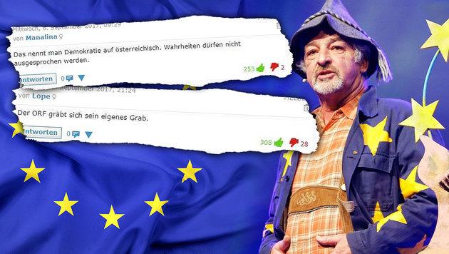 """Leser: """"ORF und Objektivität! Ist schon Fasching?"""" (Bild: ORF, stock.adobe.com, krone.at, krone.at-Grafik)"""
