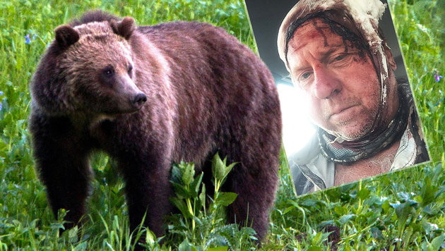 Pfefferspray auf Flucht verloren: Grizzly-Attacke! (Bild: AP, facebook.com, krone.at-Grafik)