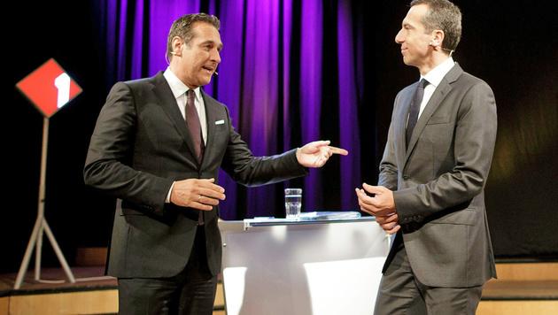 FPÖ-Chef Strache (li.) und Bundeskanzler Kern bei einer Ö1-Konfrontation (Bild: APA/GEORG HOCHMUTH)