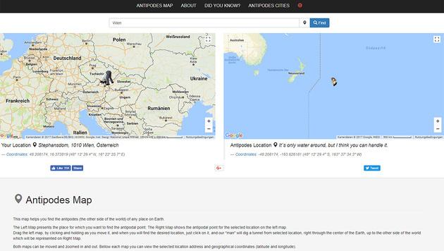 Hier würde Sie ein Tunnel durch die Erde hinführen (Bild: antipodesmap.com)