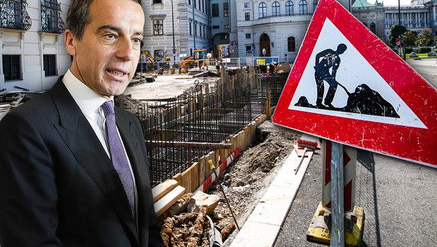 Baustopp für umstrittene Anti-Terror-Mauer (Bild: Martin Jöchl, APA/HOCHMUTH, APA/BKA/WENZEL, krone.at-Grafik)