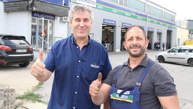 Duo mit Zivilcourage: Haunschmidt und Mohammed stellten einen Räuber. (Bild: Andi Schiel)
