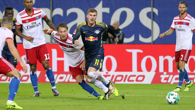 RB Leipzig siegt trotz Elfer-Chaos 2:0 beim HSV (Bild: GEPA)