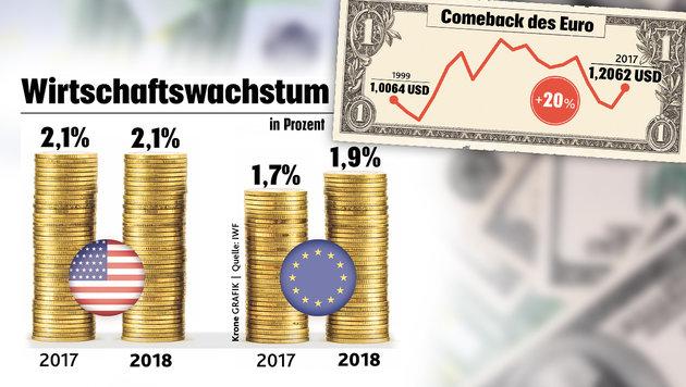 Wer fürchtet sich vorm starken Euro? (Bild: stock.adobe.com, Krone-Grafik, krone.at-Grafik)