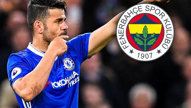 Bei Chelsea am Abstellgleis: Costa zu Fenerbahce? (Bild: AFP, krone.at-Grafik)