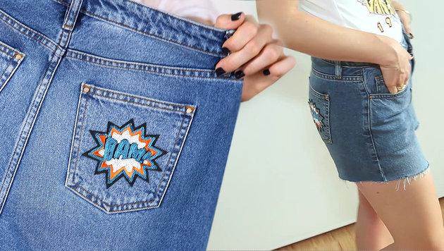 Verwandeln Sie alte Jeans in Fashion-Statements (Bild: krone.tv)