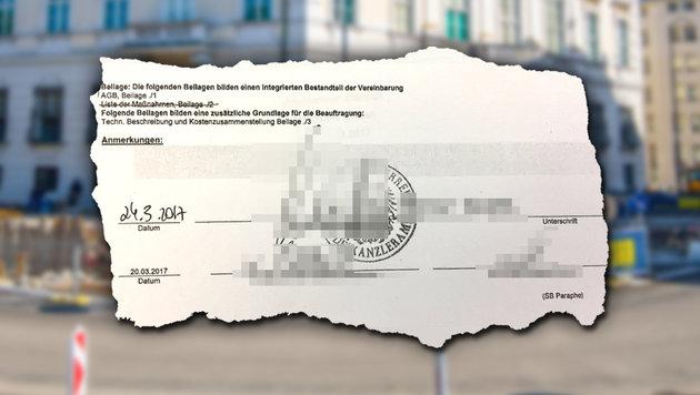 """Die """"Krone"""" hat die Bestellung der Anti-Terror-Mauer mit Unterschrift und Stempel des Kanzleramts. (Bild: APA/Georg Hochmuth, krone.at-Grafik)"""