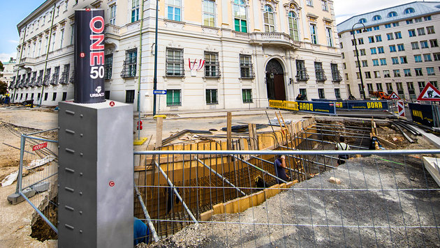 Terror-Mauer fix zerbröselt - jetzt mehr Poller (Bild: APA/Georg Hochmuth, BIG, krone.at-Grafik)