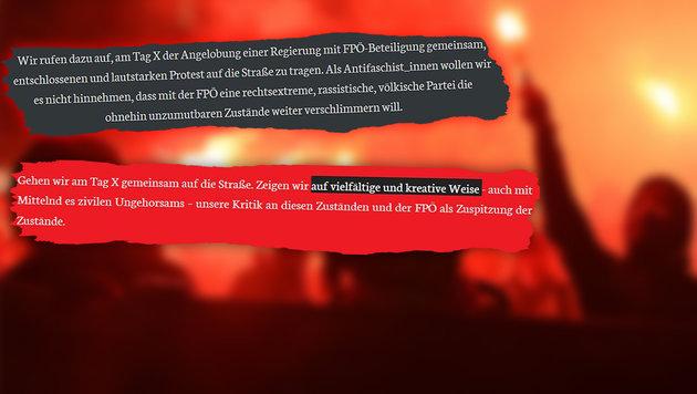 "Radikale Linke drohen FPÖ mit ""Kreativ-Demos"" (Bild: ""Krone"", krone.at-Grafik, APA/HERBERT P.OCZERET)"