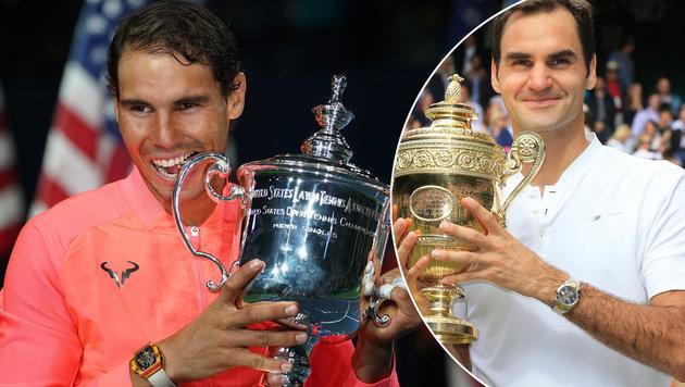 Nadal und Federer: Die Grand-Slam-Könige 2017 (Bild: GEPA)