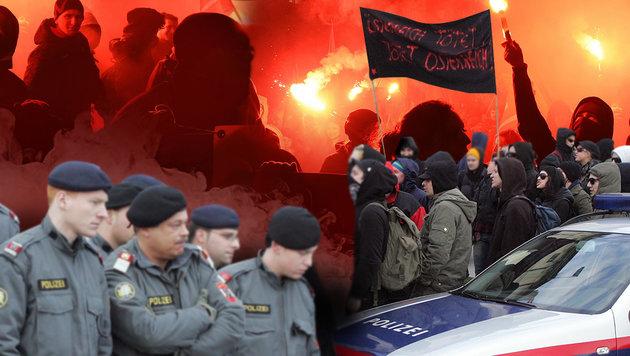 Drohen im Falle einer FPÖ-Regierungsbeteiligung wieder Szenen wie diese? (Bild: APA/HERBERT P.OCZERET, Andi Schiel, krone.at-Grafik)