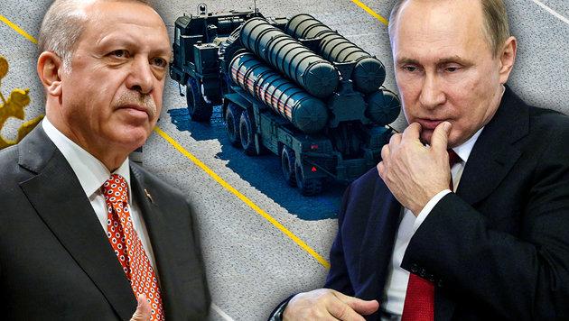 Erdogan und Putin haben den bisher größten Waffendeal zwischen ihren beiden Ländern abgeschlossen. (Bild: AP, AFP, krone.at-Grafik)