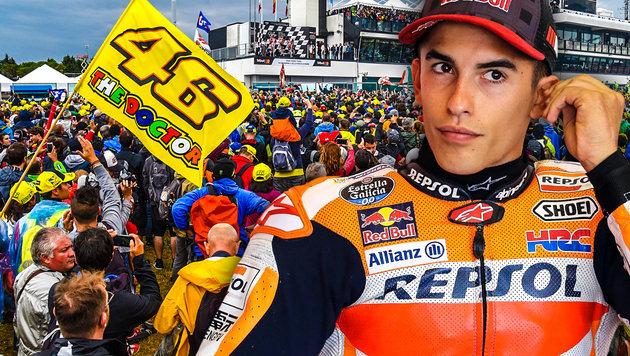 Jubel nach Crash: Marquez sauer auf Rossi-Fans (Bild: AFP, AP, krone.at-Grafik)