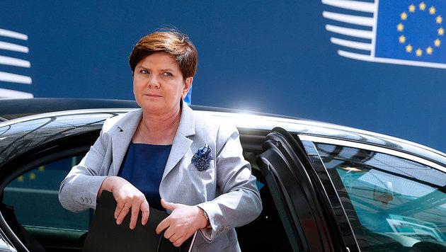 Für Ministerpräsidentin Beata Szydlo sind Auftritte in Brüssel derzeit keine angenehmen Termine. (Bild: AFP)