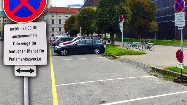 U. a. wurden 50 Plätze bei den Volksgarten-Pavillons neben dem provisorischen Parlament angemietet. (Bild: Richard Schmitt, krone.at-Grafik)