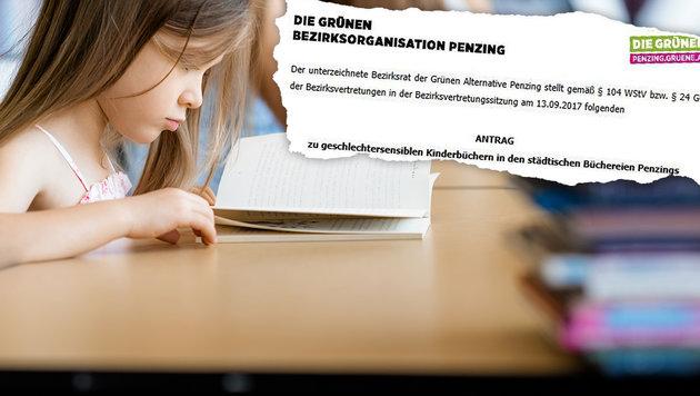 """Grüner Antrag für mehr """"geschlechtersensible Kinderbücher in städtischen Büchereien"""" (Bild: Die Grünen, stock.adobe.com, krone.at-Grafik)"""