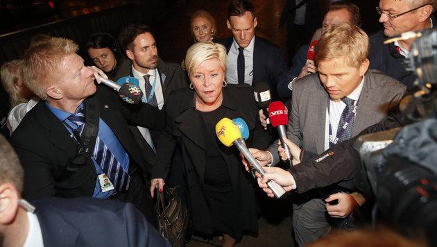 Siv Jensen, die Spitzenkandidatin der rechtspopulistischen Fortschrittspartei (Bild: AP)