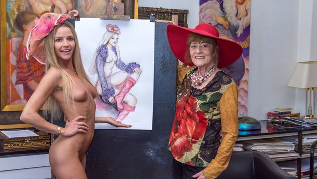 Wendy Night vor ihrem Larot-Porträt (Bild: ATV)