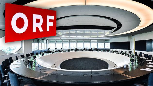 ORF-Chefs gönnen sich Sitzungssaal um 770.000 Euro (Bild: APA/HANS PUNZ, krone.at-Grafik)