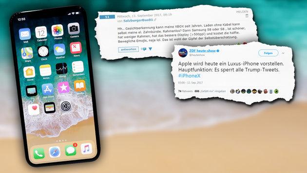 Was die krone.at-User vom neuen iPhone halten (Bild: AP, twitter.com, stock.adobe.com, krone.at-Grafik)