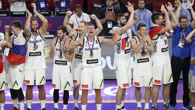 Europameister! Sloweniens Basketballer überragend (Bild: AP)