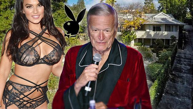 """""""Playboy""""-Ranch um 17 Millionen Dollar verkauft (Bild: AFP, Zillow, krone.at-Grafik)"""
