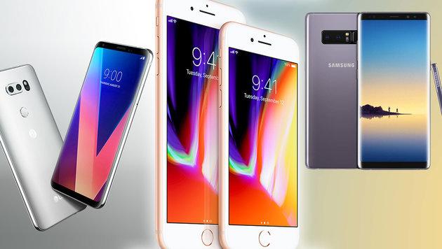 Smartphone-Showdown: iPhone 8 und seine Rivalen (Bild: LG, Samsung, Apple, krone.at-Grafik)