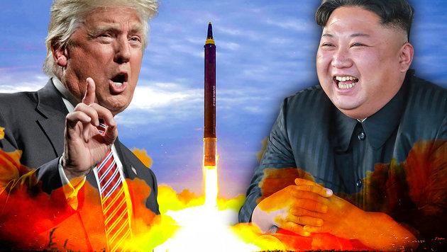 """Trump: """"Keine Gespräche mit kleinem Raketenmann"""" (Bild: STR/KCNA VIA KNS/AFP, AP, krone.at-Grafik)"""