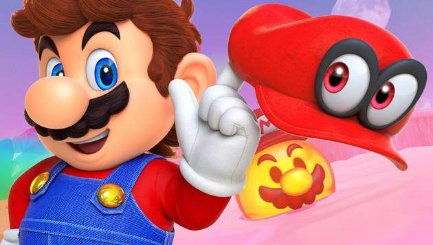 """""""Super Mario Odyssey"""": Ein Mann und seine Mütze (Bild: Nintendo, krone.at-Grafik)"""