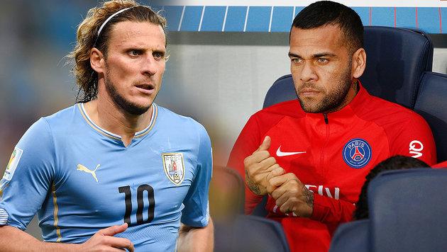 """PSG-Zoff: Forlan bezeichnet Alves als """"Schlampe"""" (Bild: AFP, GEPA, krone.at-Grafik)"""