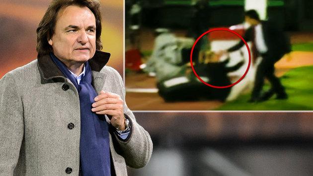 Sion-Präsident schlug TV-Experten ins Gesicht (Bild: AFP, YouTube.com, krone.at-Grafik)