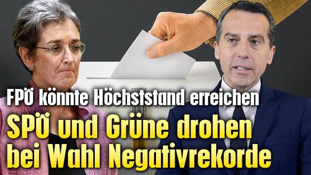 SPÖ und Grüne drohen bei Wahl Negativrekorde