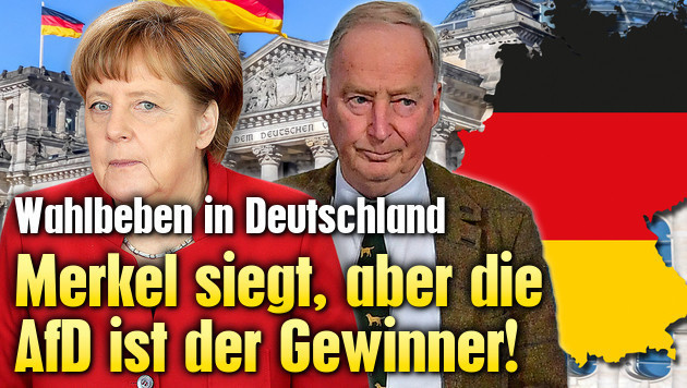 Merkel siegt, aber rechte AfD ist der Gewinner (Bild: AP, APA/AFD, stock.adobe.com, krone.at-Grafik)