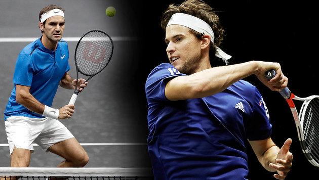 """Thiem trainiert mit """"König"""" Federer im VIP-Club! (Bild: AP, krone.at-Grafik)"""