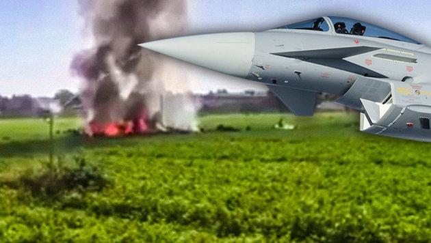 Zweiter Eurofighter-Absturz in nur knapp 3 Wochen! (Bild: twitter.com, AFP, krone.at-Grafik)