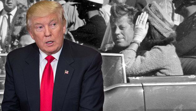 John F. Kennedy mit Ehefrau wenige Minuten vor seiner Ermordung (Bild: AFP/Nicholas Kamm, AP/Jim Altgens, krone.at-Grafik)
