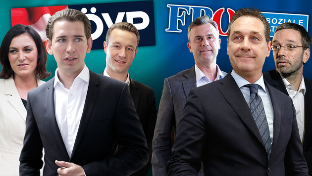 Die Chefverhandler von ÖVP und FPÖ scharren in den Startlöchern. (Bild: APA, krone.tv, AFP, krone.at-Grafik, stock.adobe.com)