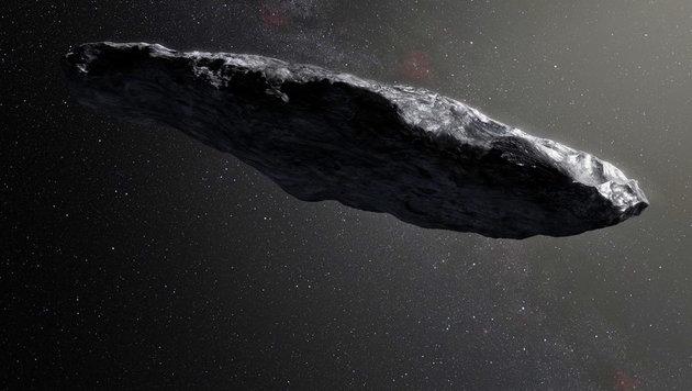 """Künstlerische Darstellung des interstellaren Asteroiden """"Oumuamua"""" (Bild: ESO/M. Kornmesser)"""