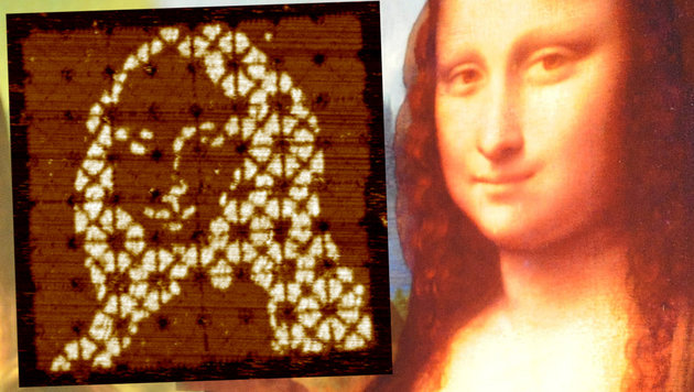 "Forscher ""falten"" winzige Mona Lisa aus DNA (Bild: Qian laboratory, AFP, krone.at-Grafik)"