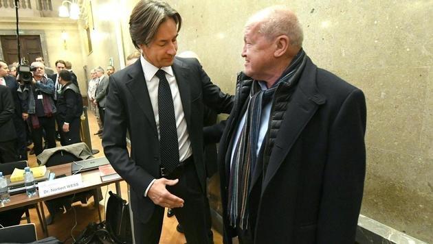 Angeklagte unter sich: Karl-Heinz Grasser begrüßt Ernst Karl Plech vor Verhandlungsbeginn. (Bild: APA/HELMUT FOHRINGER/APA-POOL)