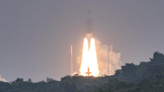 """Der Start der """"Ariane-5""""-Rakete vom Weltraumbahnhof Kourou (Bild: AFP)"""