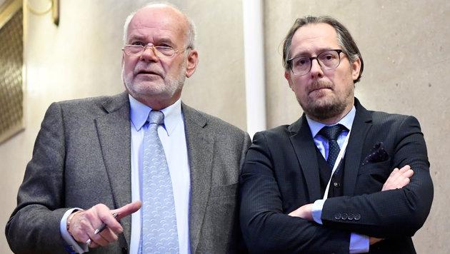 Das Verteidiger-Team von Karl-Heinz Grasser: Manfred Ainedter und Norbert Wess (Bild: APA/HANS KLAUS TECHT/APA-POOL)