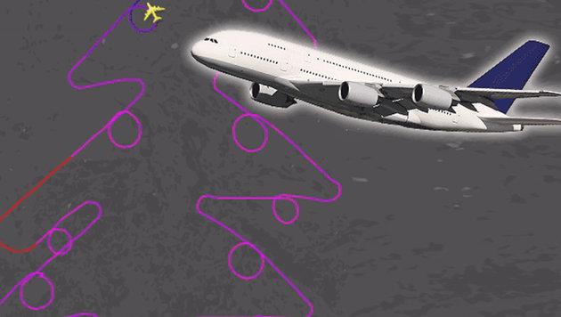 Ein A380 zeichnet den größten Weihnachtsbaum (Bild: twitter.com, stock.adobe.com, krone.at-Grafik)