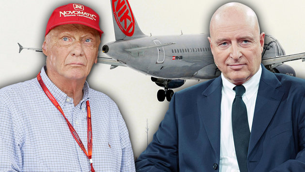 Rettet Niki Lauda (li.) die Airline? AUA-Chef Kay Kratky (re.) bot Niki-Mitarbeitern neue Jobs an. (Bild: AFP, APA, dpa, krone.at-Grafik)
